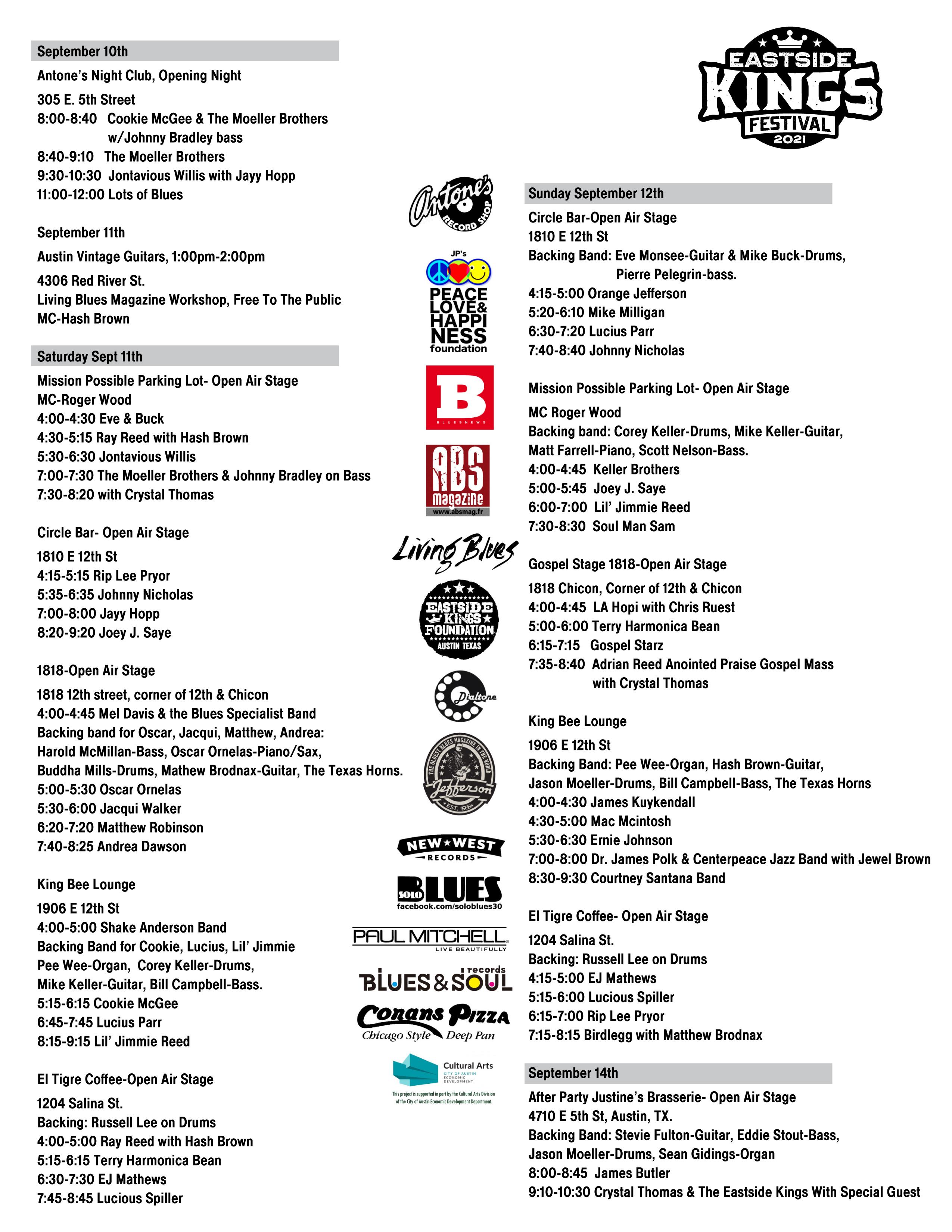 Eastside Kings Festival Schedule